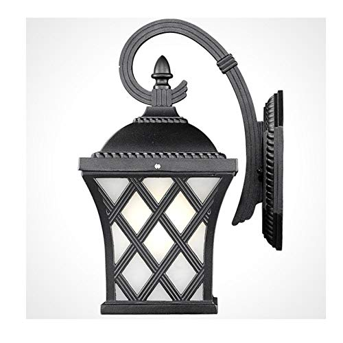 WZHZJ Lámpara de Pared al Aire Libre Europa Villa Lámpara de Aplique Retro E27 Luz de Entrada de jardín Exterior Impermeable Lámpara de Porche Vintage Negro