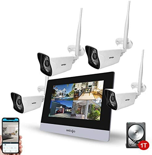 Wireless Security Camera System 4Pcs UNIOJO 2 0MP 1080P Waterproof IP66 Indoor Outdoor Home product image