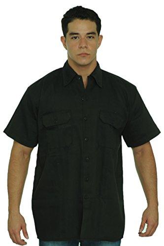 SHORE TRENDZ Men's Basic Mechanic Work Shirt Front Button Up Biker Short...