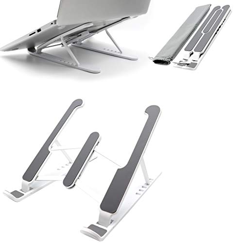 """MISIMPO Upgrade Laptop Stand, Portable Laptop Holder Riser Computer Stand with 6 Levels Adjustbale Mount Compatible with More 10-15.6"""" Laptops(White)"""