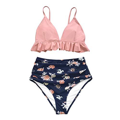 D&STBKI - Conjunto de bikini de cintura alta para playa multicolor XL