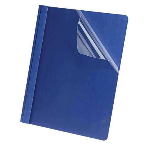 Oxford Linen Clear Front Report Cover, Navy, Letter Size, 5 per Pack, (50443)