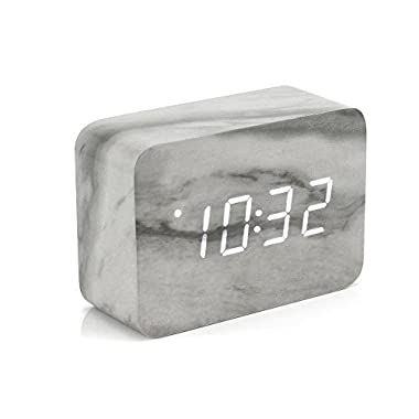 Oct17 Marble Pattern Alarm Clock, Fashion Multi-function LED Alarm Clock with USB Power Supply, Voice Control, Timer, Thermometer -Marble