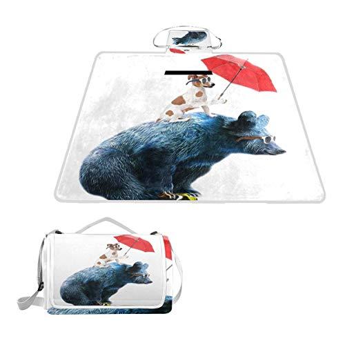LZXO Jumbo-Picknickdecke, faltbar, lustiger Hunde-Bär, Fahrrad, groß, 145 x 150 cm, wasserdicht, handliche Matte, Tragetasche, kompakte Outdoor-Matte mit Griff für Outdoor-Reisen, Camping, Wandern.