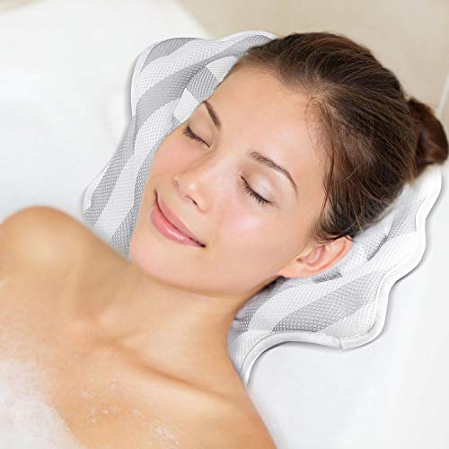 Hossejoy Luxury Spa Bath Pillow with 6 Suction Cups, Bathtub Cushion for Neck, Head, Shoulder and Back Support, Great For Hot Tub, Jacuzzi, Spas