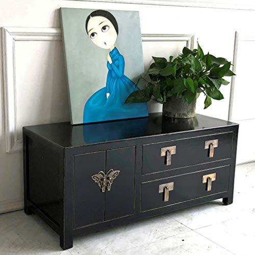 OPIUM OUTLET Chinesische TV-Kommode, asiatisches Sideboard, orientalisches Lowboard, Fernseh-Schrank, Kästchen im Vintage-Stil, schwarz
