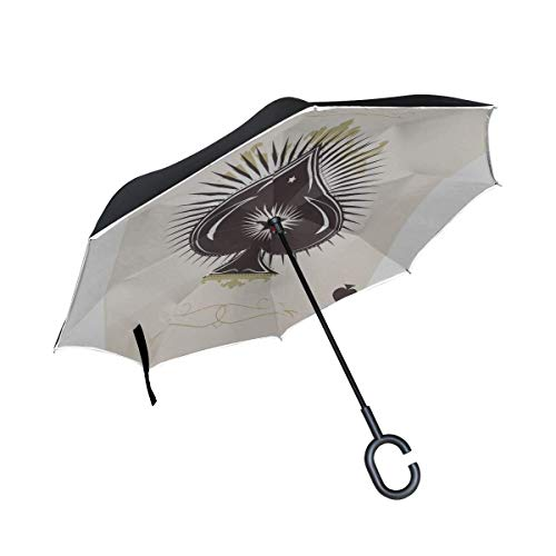 8bayfa Double-Layer-Inverted Tote Reverse-Regenschirm Der Skelett-Spaten Trump in Poker Folding UVregenschirm Herren Regenschirm Folding windundurchlässige UV-Schutz for Regen mit C-förmigen Griff