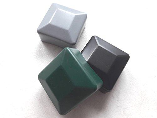OuM 5 Stück Pfostenkappe Zaunpfahlkappe quadratisch 80x80mm Grün