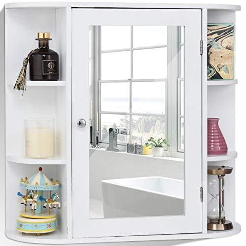 RELAX4LIFE Spiegelschrank, Hängeschrank mit Spiegel & Ablagen, Wandschrank für Badezimmer & Garderobe & Schlafzimmer, hängender Badspiegelschrank mit Tür, bis zu 20 kg belastbar, 65x17x63 cm, weiß