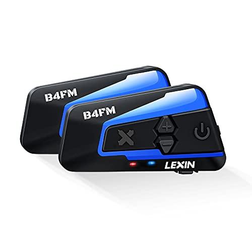 LEXIN 2X B4FM Intercomunicador Casco Moto Bluetooth Con Radio FM,Sistema Comunicador Casco de Reducción de Ruido, Manos Libres Para Moto,4 Motoristas tienen distancia de hasta 1200M Para Moto Off-Road