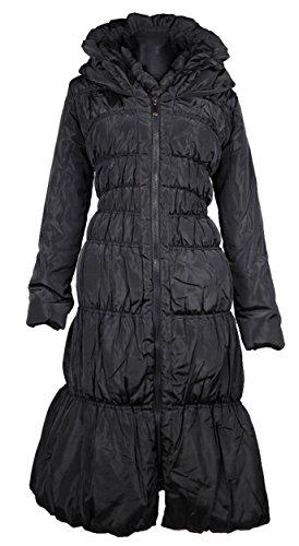 Italy Donna Damen Lang Wintermantel Mantel Steppmantel Parka Ballon Lagenlook Trench Coat schwarz 36 38 S M warm Jacke (38)