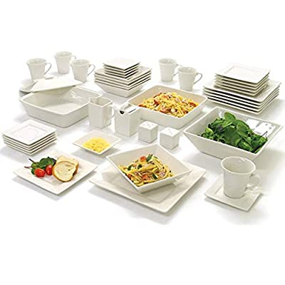 10 Strawberry Street Nova Square Dinnerware Set, 45 PIECE, Cream