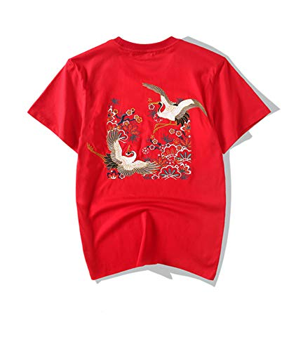 Heren T-shirt met ronde hals en korte mouwen 2020 Zomerjurk Crane borduurwerk Country Tide Half Sleeve China Wind Losse Tshirt