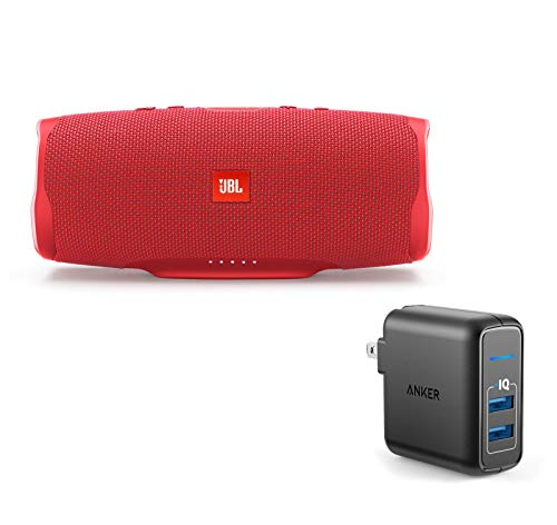 JBL Charge 4 Portable Waterproof Wireless Bluetooth Speaker Bundle with Anker 2-Port Wall Charger - Red