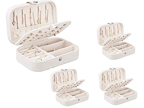 Joyero para niñas, joyero portátil para mujer, piel sintética, caja de joyería pequeña, caja de almacenamiento de joyas de viaje (uno)