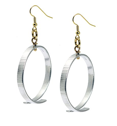 Silver Tone Aluminum Chased Hoop Earrings By John S Brana Handmade Jewelry Hypoallergenic