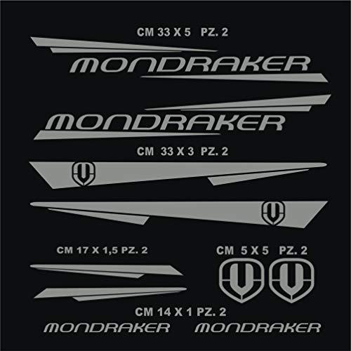 Pimastickerslab Aufkleber Fahrrad MONDRAKER - KIT6 Kit Aufkleber Stickers 10 Stück – bici Bike Cycle wählbar Cod.0886 (074 Grigio Medio)