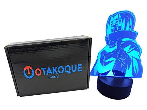 OTAKOQUE - Lámpara de manga LED, 7 colores, 3 modos, luz nocturna decorativa Manga, Anime Japonés, conexión USB, iluminación decorativa perfecta para cualquier fan de Manga (Itachi)