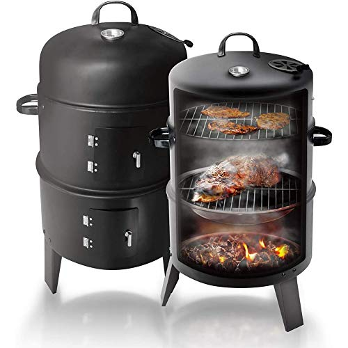 WLHER Round Vertical Charcoal BBQ Smoker Grill, Multifunctional Three-in-One Grill, Ideal for Outdoor Activities, Such As Party Bonfires, Family Barbecues for Camping