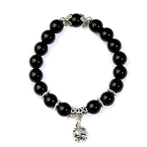 ZSDN Stone Bracelet for Women Crystal Elastic Beaded Bracelets Single Lucky Ball Pendant Bracelet for Women, Black