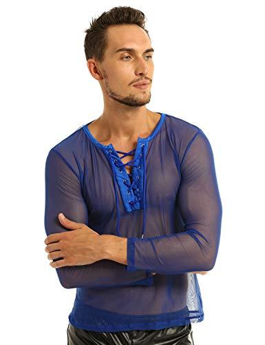 iEFiEL Herren Transparent Hemd Langarm Shirts Tops Unterhemd aus Mesh Erotik T-Shirt Reizwäsche Sportshirt Party Clubwear, XL, Blau