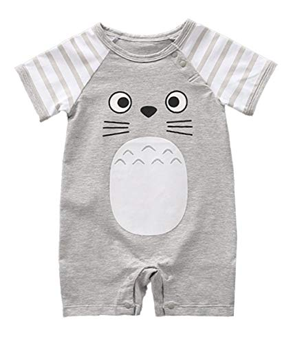 stylesilove Adorable Unisex Baby Boy and Girl Short Sleeve Cotton Romper (73/9-12 Months, Grey)
