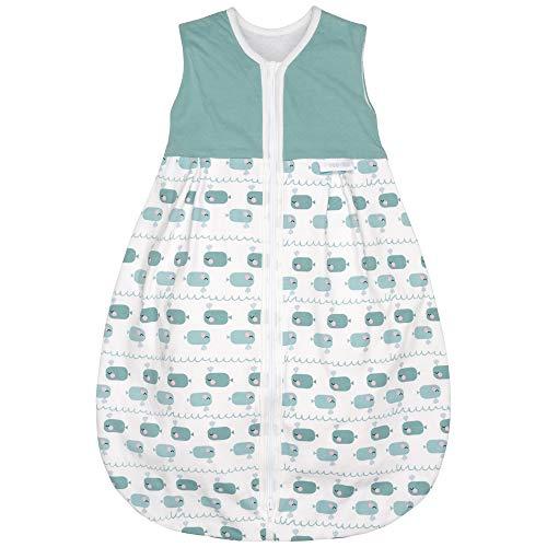 Premium Baby Schlafsack Sommer, Größe: 70cm (68/74), Bequem & Atmungsaktiv, 100% Bio-Baumwolle, OEKO-TEX Zertifiziert, Flauschig Weich, Bewegungsfreiheit, 1.0 TOG, Wal Blau von emma & noah