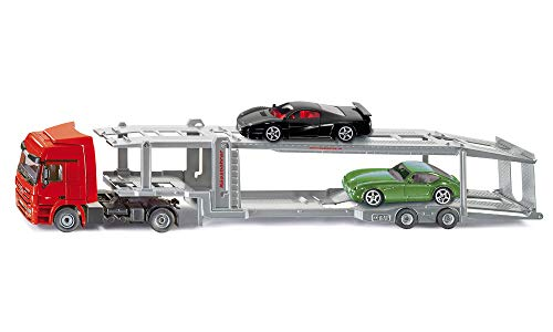 SIKU 3934, Autotransporter, Inkl. 2 Spielzeug-Autos, 1:50, Metall/Kunststoff, Rot/Silber, Abkoppelbarer Auflieger
