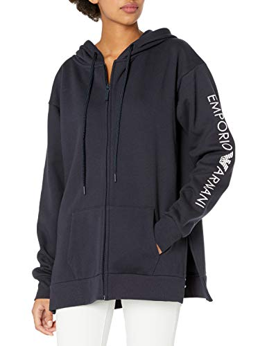 Emporio Armani Damen Stretch Cotton Full Zip Jacket Kapuzenpulli, Marineblau, X-Small