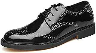 JIANFEI LIANG Business Oxford for Men Formal Shoes Lace up Microfiber Leather Experienced Stitched Waxy Shoelaces (Color : Silver, Size : 39 EU)