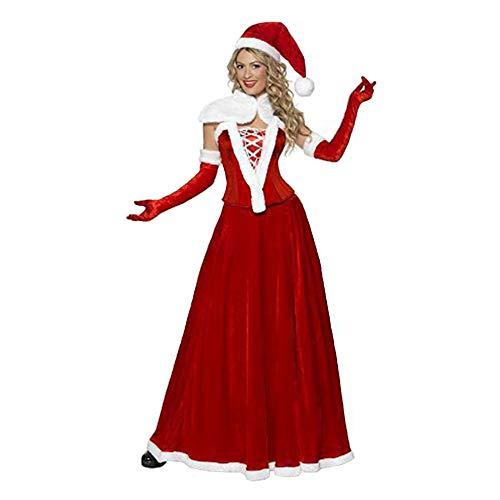 WANXX Falda Cosplay de Papá Noel Vestido de Navidad para Mujer Talla Única para Adultos