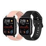 TenCloud, cinturino di ricambio per smartwatch Amazfit GTS da 20 mm, in morbido silicone, per smartwatch Amazfit GTS (nero+rosa, piccolo)