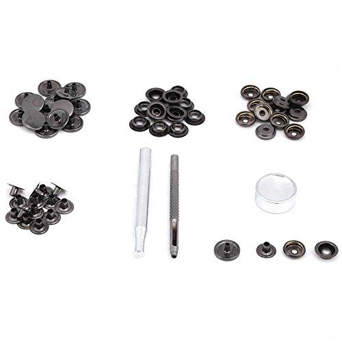 Bouton, attache de bouton-pression bouton-pression en métal avec des outils pour la réparation de veste de vêtements en cuir(noir)