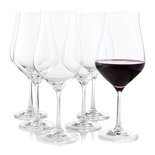 Crystalex, set di 6 grandi calici da vino a stelo lungo e a forma di tulipano, ideali per bordeaux, merlot, vino rosso o bianco, di alta qualità, trasparenti e universali, 550 ml