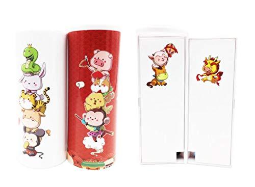 Creativity Pencil Case Double Layer Pen Box With Mirror Calculator Whiteboard Pen Wiper For School Supplies Cosmetic case Kawaii,12 Chinese zodiac