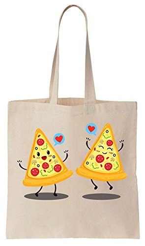Finest Prints Two Pizza Slices Fell In Love Tote Bag Baumwoll Segeltuch Einkaufstasche