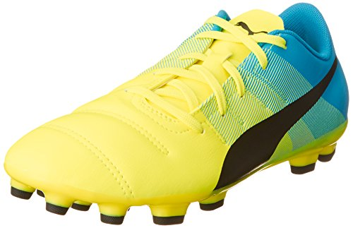 Puma Evopower 4.3 AG Jr, Botas de fútbol Infantil, Amarillo-Gelb (Safety Yellow-Black-Atomic Blue 01), 37.5 EU