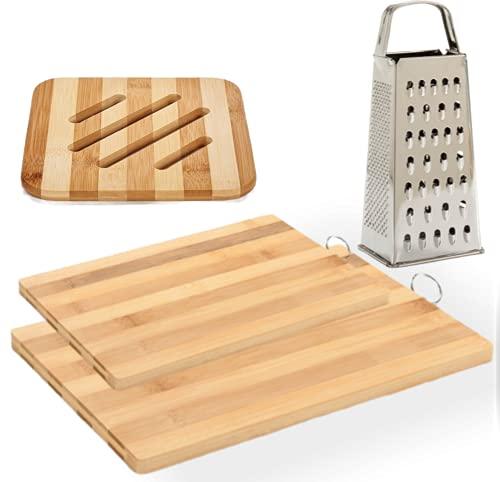 Pack 2 Tablas de Cortar Madera Bambú para cocina,Resistentes como Bandejas para Servir+1 Salvamanteles de Bambú+Rallador Manual de Acero Inoxidable de 4 Caras,Fabricados en Europa.