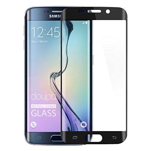 doupi FullCover Panzerfolie für Samsung Galaxy S6 Edge, Preimium 9H Hartglas HD Displayschutz Anti Kratzer Glas Schutzfolie, schwarz