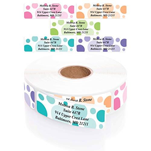 Dots of Color Designer Rolled Personalized Name Address Labels with Elegant Dispenser
