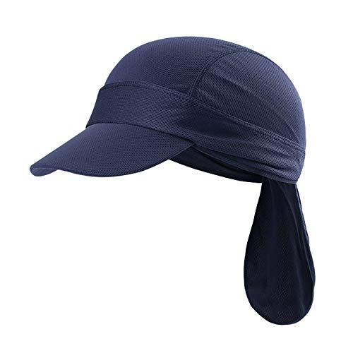 JIAHG Sport Bandana Cap Hat schnell-trocknend, Anti-UV Schutz, Damen Herren Kopftuch Piratenmütze Bikertuch Stirnband Fahrrad Radsport Motorrad Kopfbedeckung Mütze (Blau Cap mit Schirm)