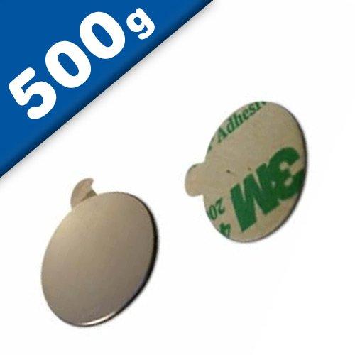 40 x Disque magnétique autocollant Ø 10 x 1mm Néodyme N35 (NdFeB) Nickelé - Force d'adhérence: 500g - 40 pièces - Aimants ronds puissants Disques magnétiques adhésifs