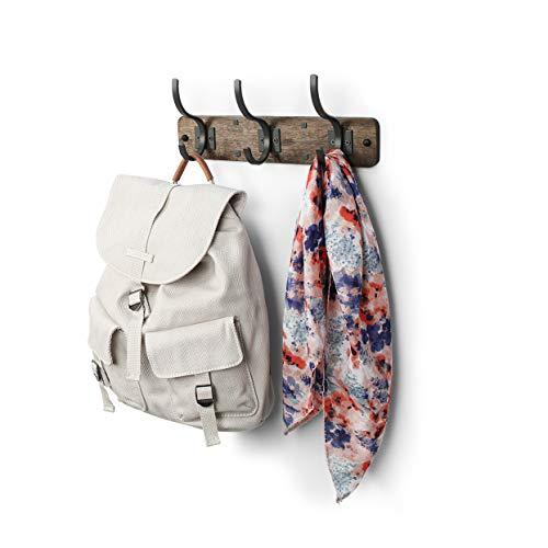 Wall-Mounted Heavy Duty Coat Hooks, 100% Natural Bamboo Coat Rack, Towel Bag Key Holder Hanger Hook Rack for Entryway Bedroom Bathroom (White, 5 Hooks)