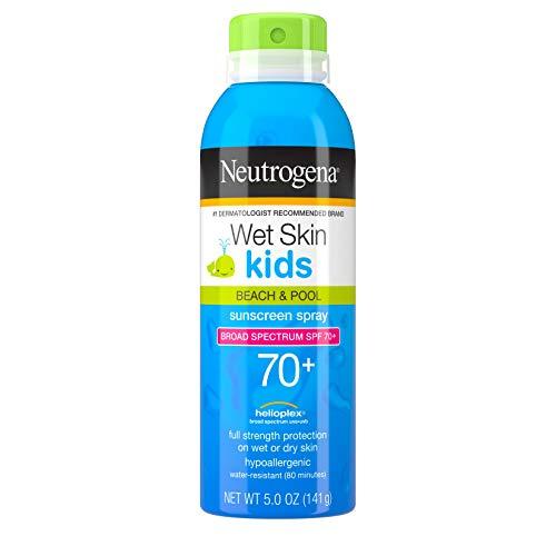 Neutrogena Wet Skin Kids Sunscreen Spray Mist, Water-Resistant and Oil-Free, Broad Spectrum SPF 70+ UVA/UVB Protection, Hypoallergenic, PABA-Free Non-Comedogenic, 5 oz