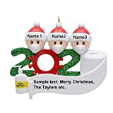 Seniny Personalized Quarantine Christmas Hanging Ornaments, 2020 Quarantine Survivor Family Symbol(Family of 3),Creative and Customized Christmas Decorating Souvenir Gift