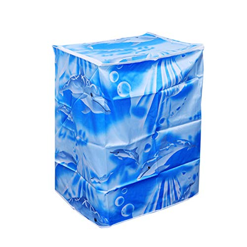 ABOOFAN 55 × 58 × 87 cm vollautomatische Waschmaschinen-Abdeckung Polyester-Satin-Tuch wasserdichte Waschmaschinen-Hülle Schutz (Wave)