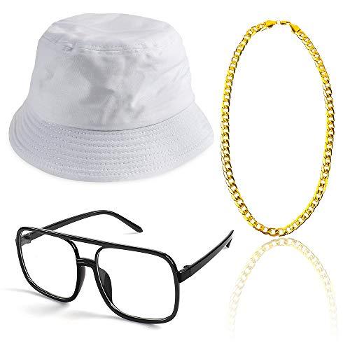 Beelittle 3pcs 80er / 90er Jahre Hip Hop Kostüm Kit Old Style Coole Rapper Outfits - Bucket Hat übergroße schwarze Sonnenbrille Gold Plated Chain (F)