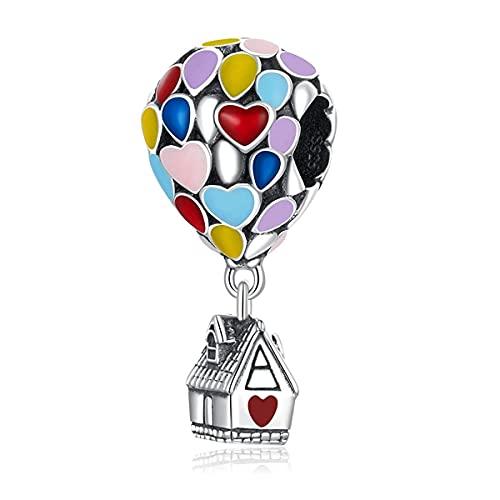 Annmors Abalorios Charms Up House&Air Balloon Colgante de Cuentas Plata de Ley 925 con Compatible con Europeo Pulsera Collar,Charms de Festival Cumpleaños Para Mujer Niña