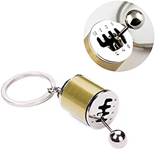 YCFACTORY Six-Speed Manual Shift Gear Keychain Key Ring Holder(Black) Key Rings (Color : Gold)