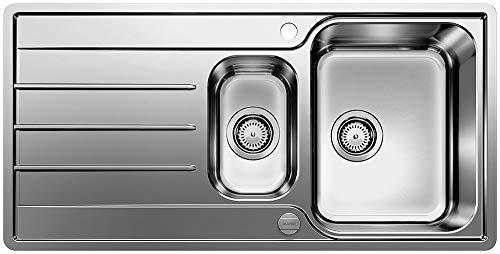 BLANCO LEMIS 6 S-IF – Edelstahlspüle für die Küche für 60 cm breite Unterschränke – Mit IF-Flachrand und Restebecken – 523033